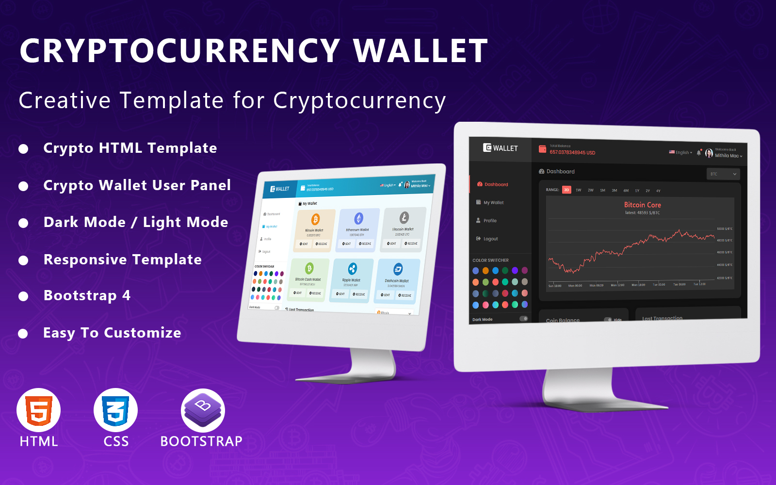"""""""Cryptocurrency Wallet Website Template - HTML5"""" Bootstrap网页模板 #110137"""