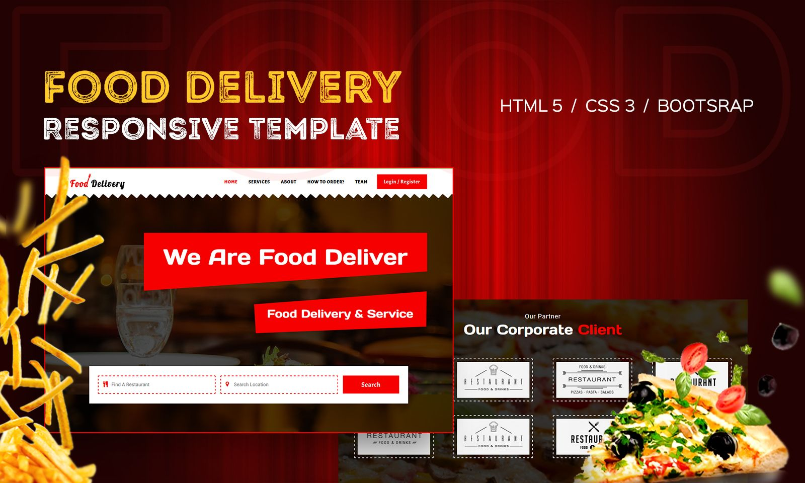"Modello Siti Web Bootstrap #110117 ""Online Food Delivery"""