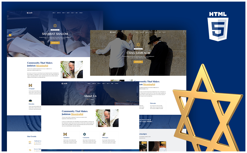 "Modello Siti Web Responsive #110135 ""Jah - Jewish Synagogue HTML"""