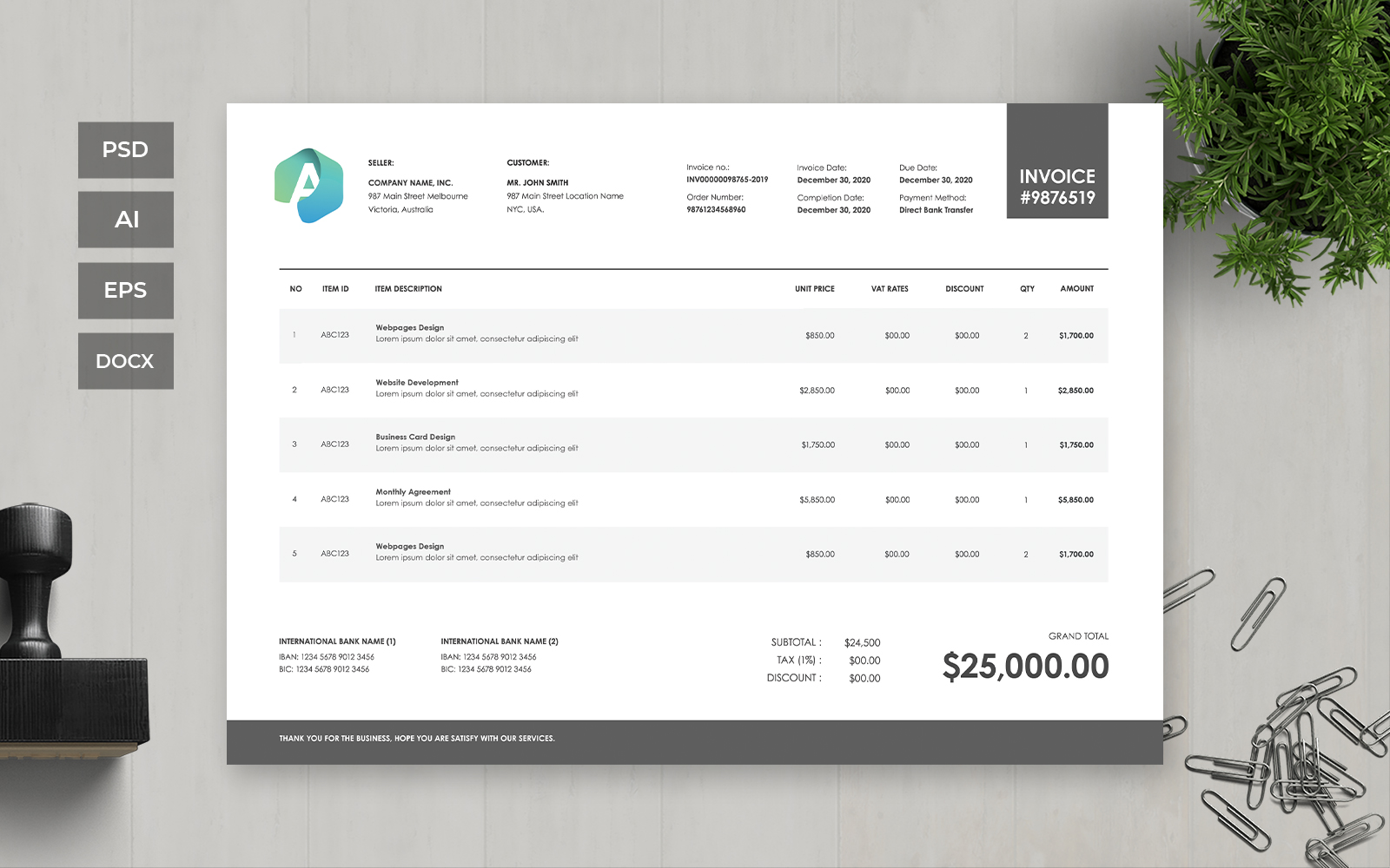 Professional and Clean Invoice Corporate Identity Template