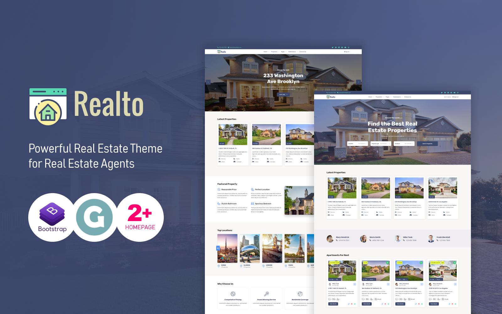 Responsywny motyw WordPress Realto Real Estate #110134