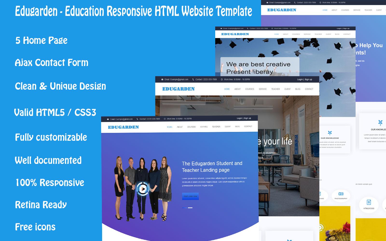 Responsywny szablon Landing Page Edugarden - Education Responsive #110129