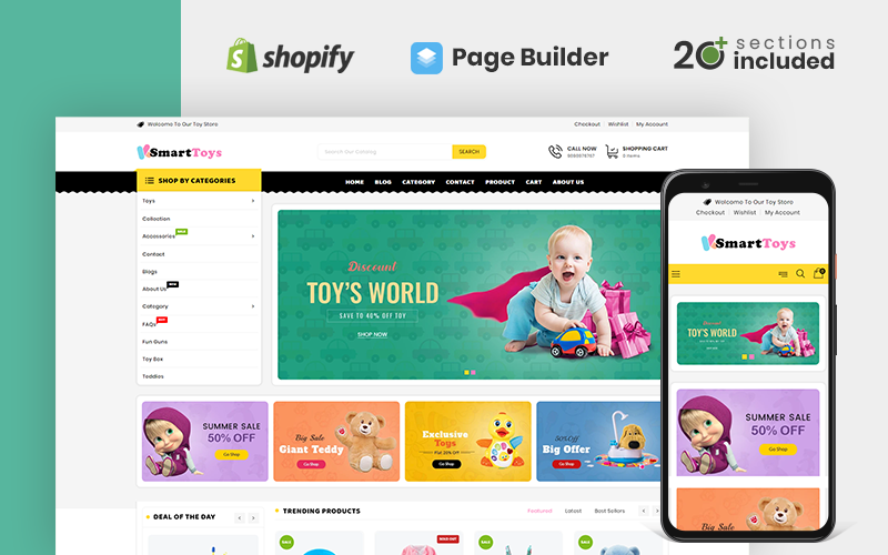 "Tema Shopify ""Smart Toys Store"" #110122"