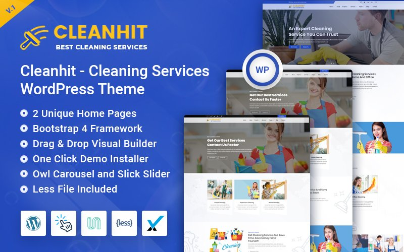 """Template WordPress Responsive #110125 """"Cleanhit - Cleaning Services"""""""