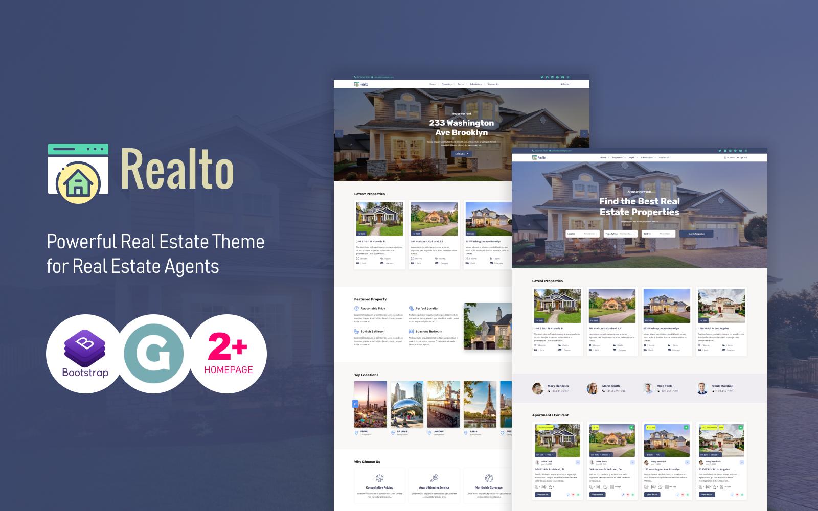 "Template WordPress Responsive #110134 ""Realto Real Estate"""