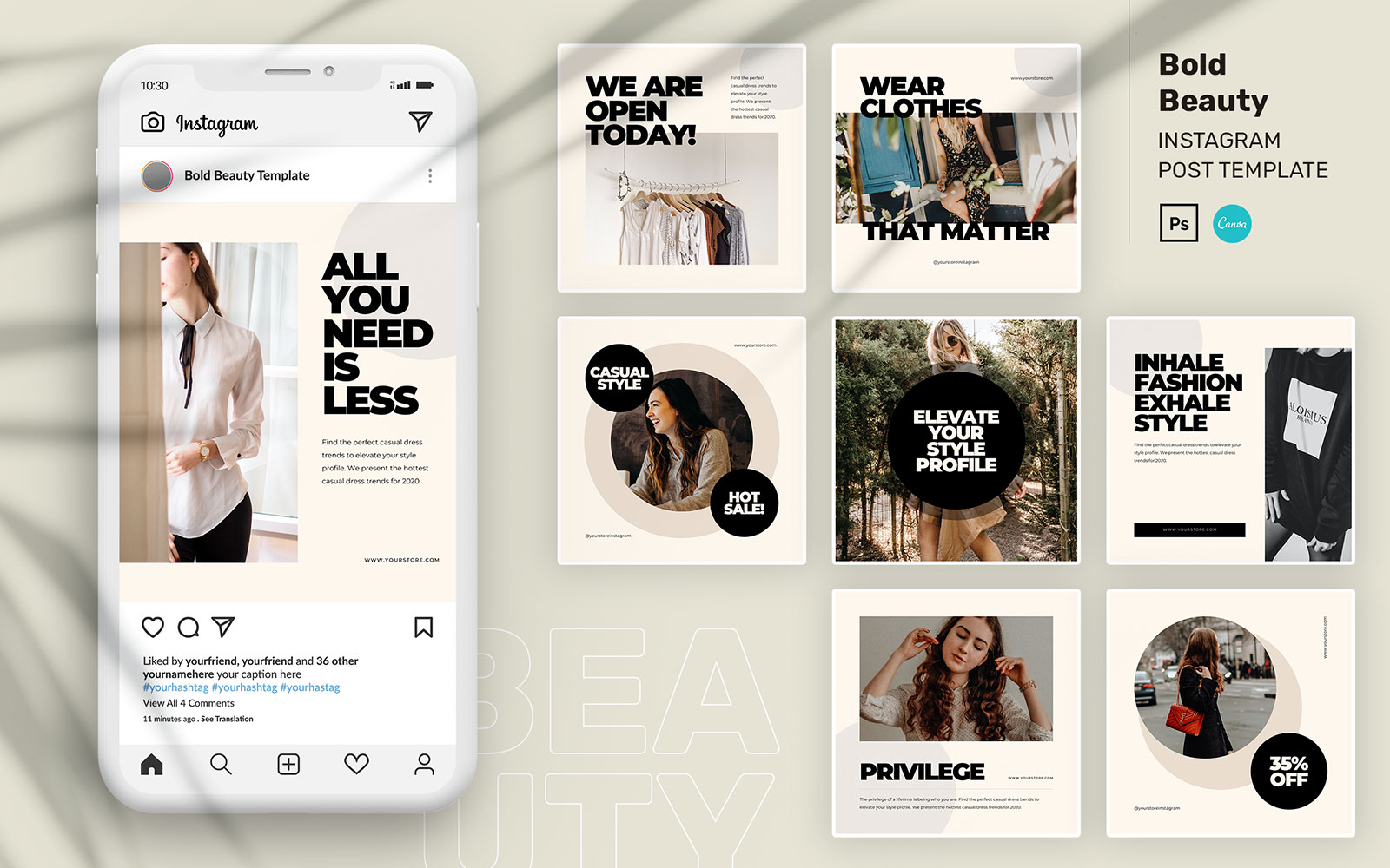 Bold Beauty Instagram Post PSD Template №110206
