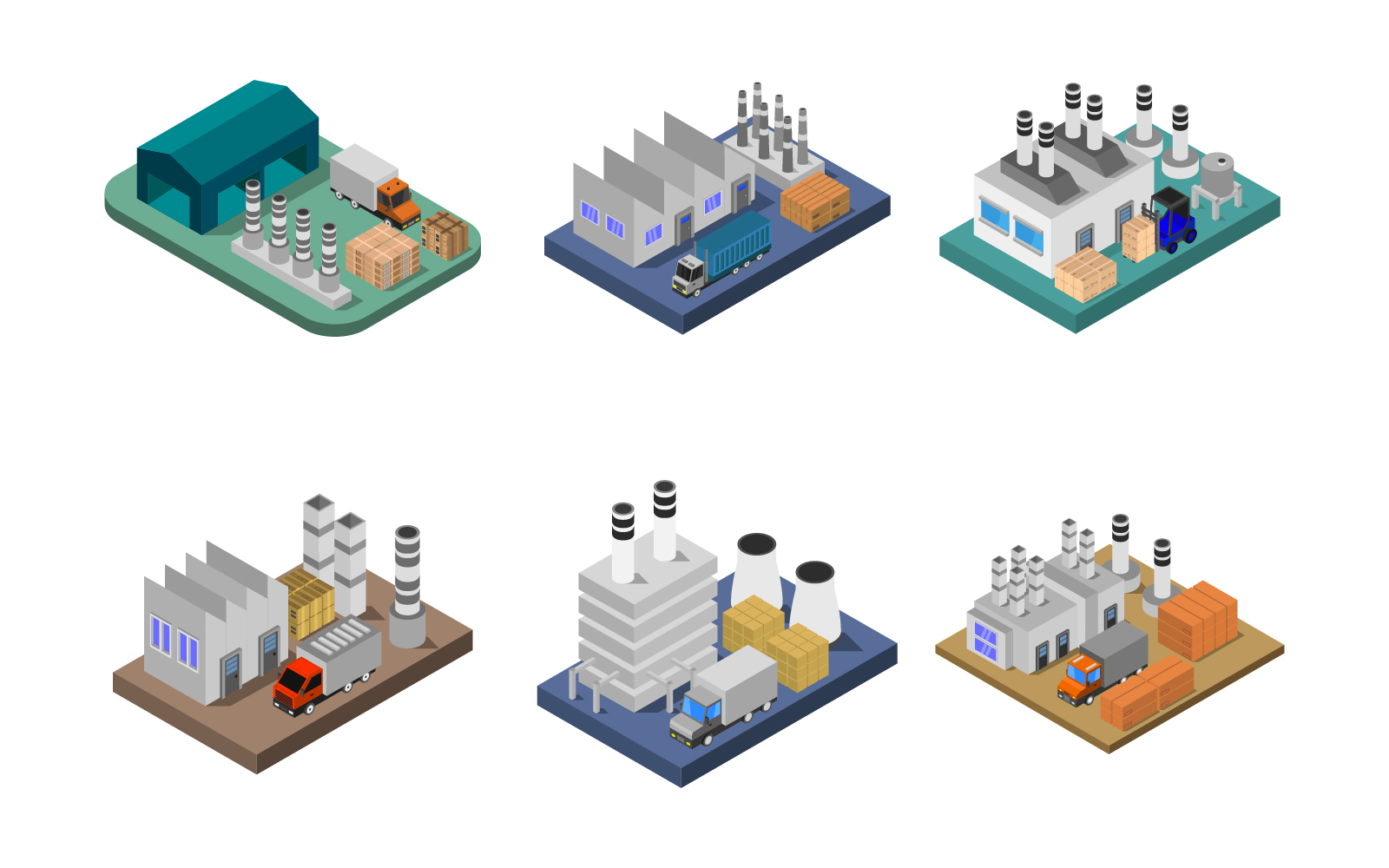 Isometric Industry Set On White Background Vector