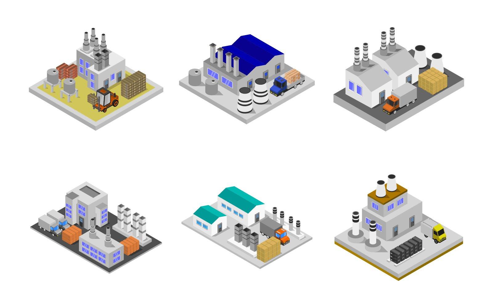 Isometric Industry Set Vector