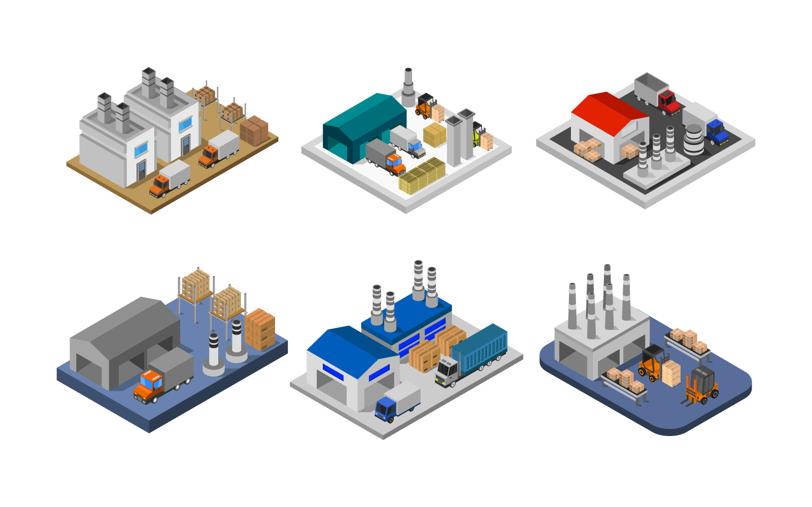Set Of Isometric Industries Vector