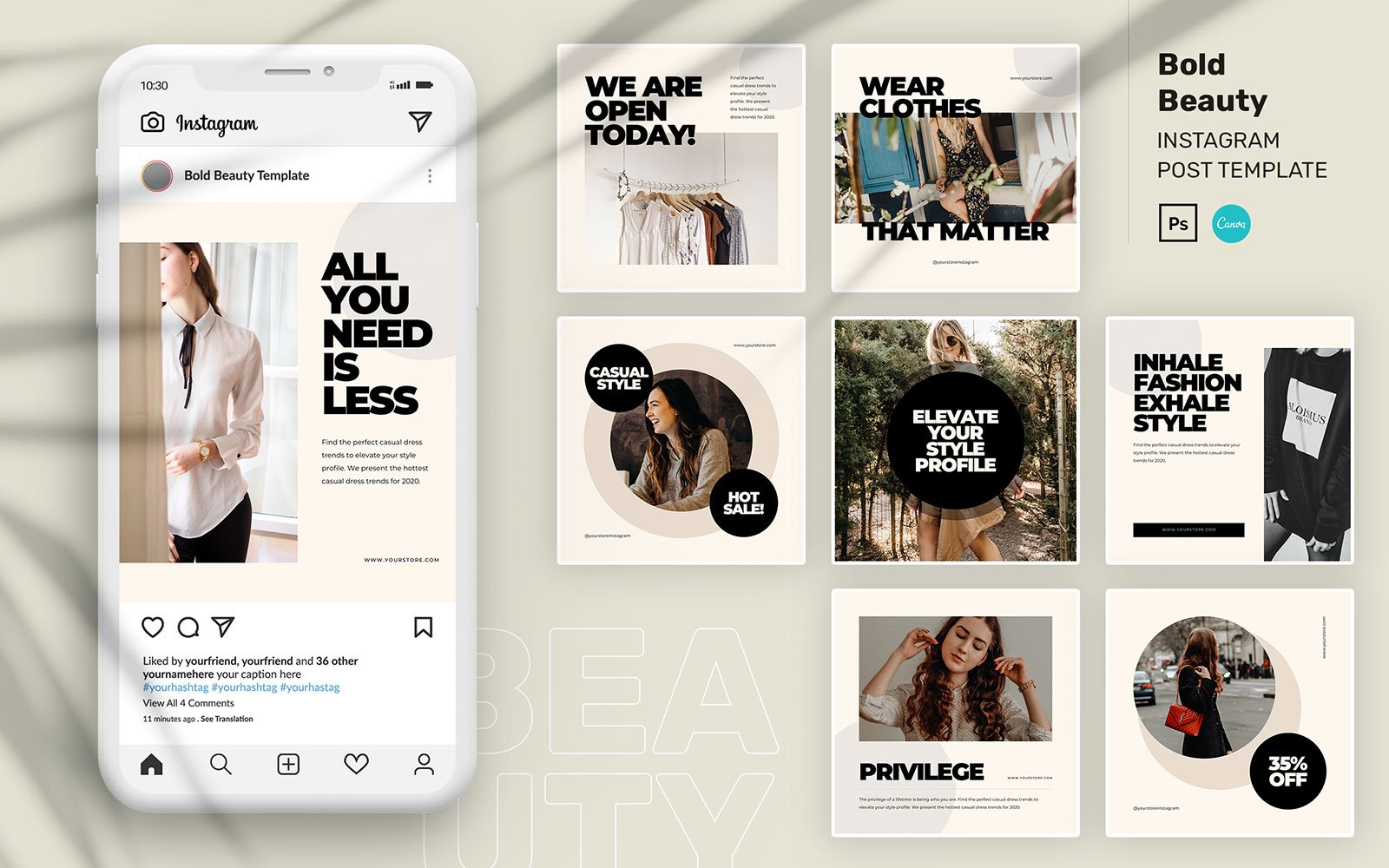 "Template Social Media #110206 ""Bold Beauty Instagram Post PSD Template"""