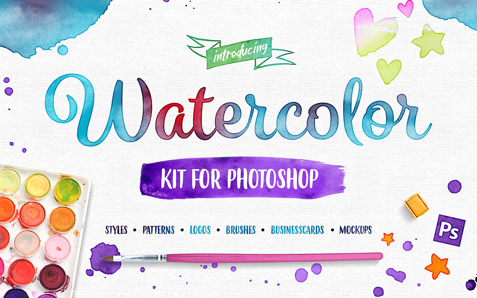 Watercolor Kit For Photoshop Product Mockup
