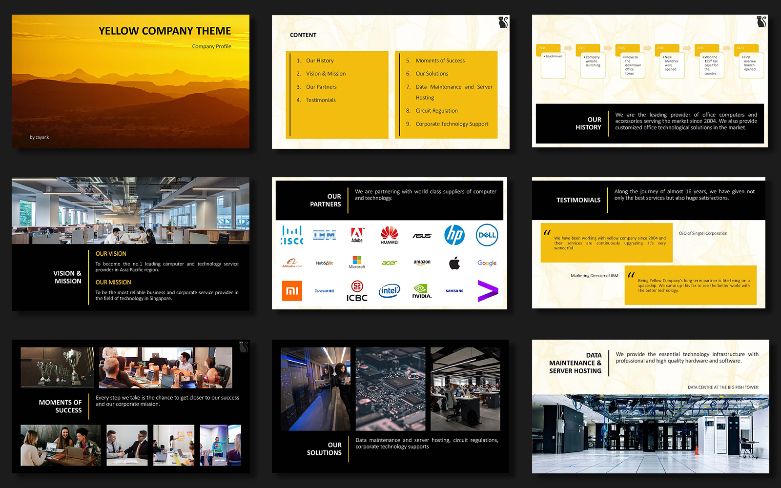 Smart Yellow Company Theme PowerPoint Template