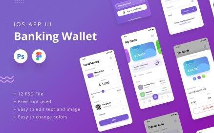 Banking Wallet iOS App UI PSD & Figma UI Element