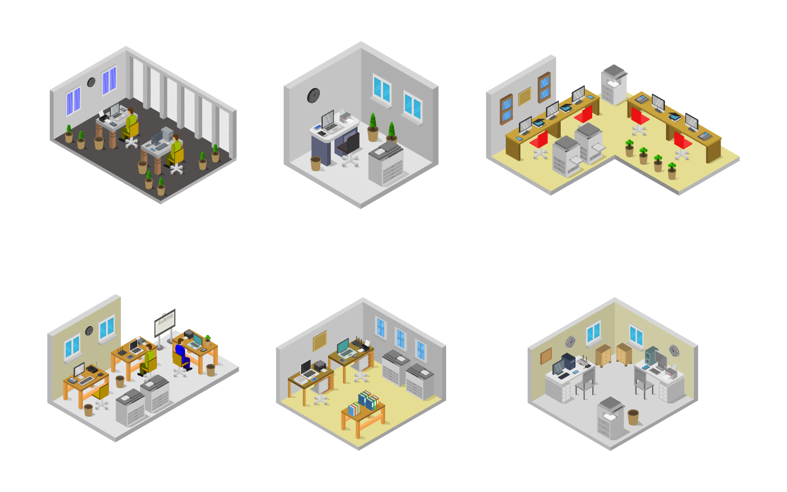 Set Of Isometric Office Room Vector