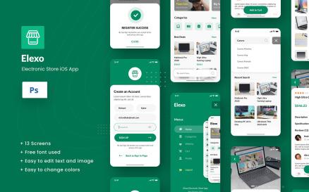 Elexo - Electronic Store iOS App Design Figma & PSD UI Element