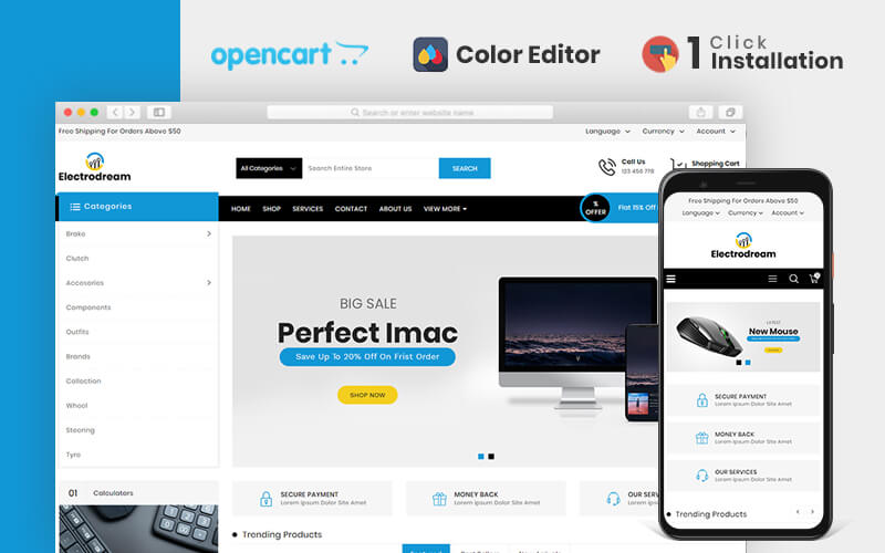 Electrodream Electronics Store OpenCart Template