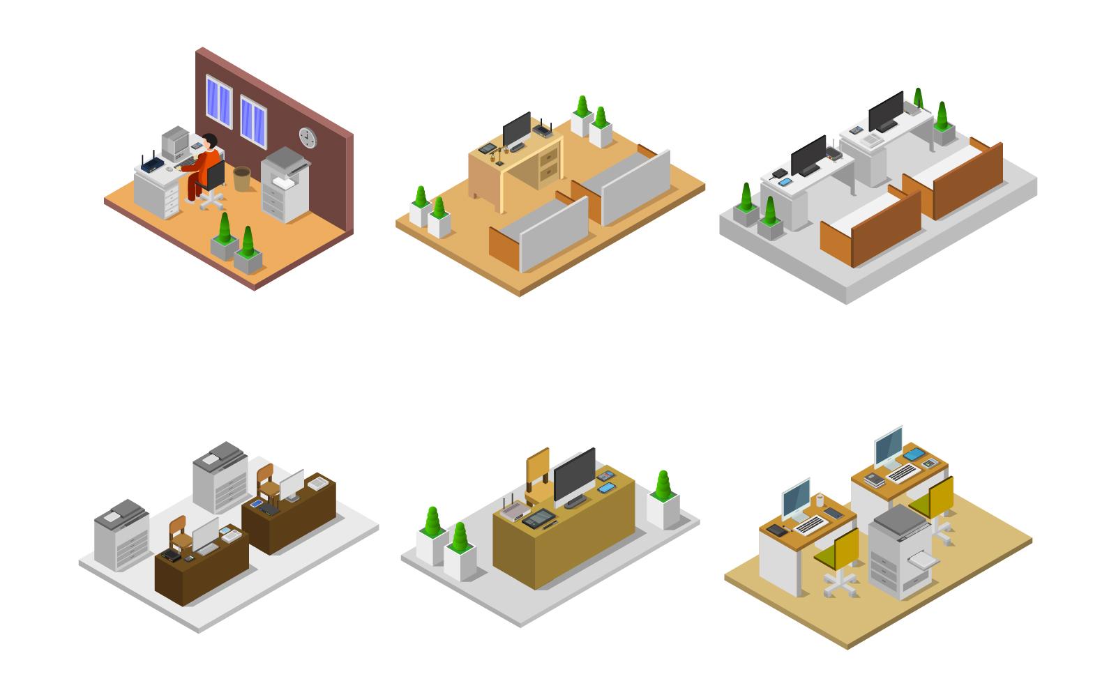 Isometric Office Room Set Vector