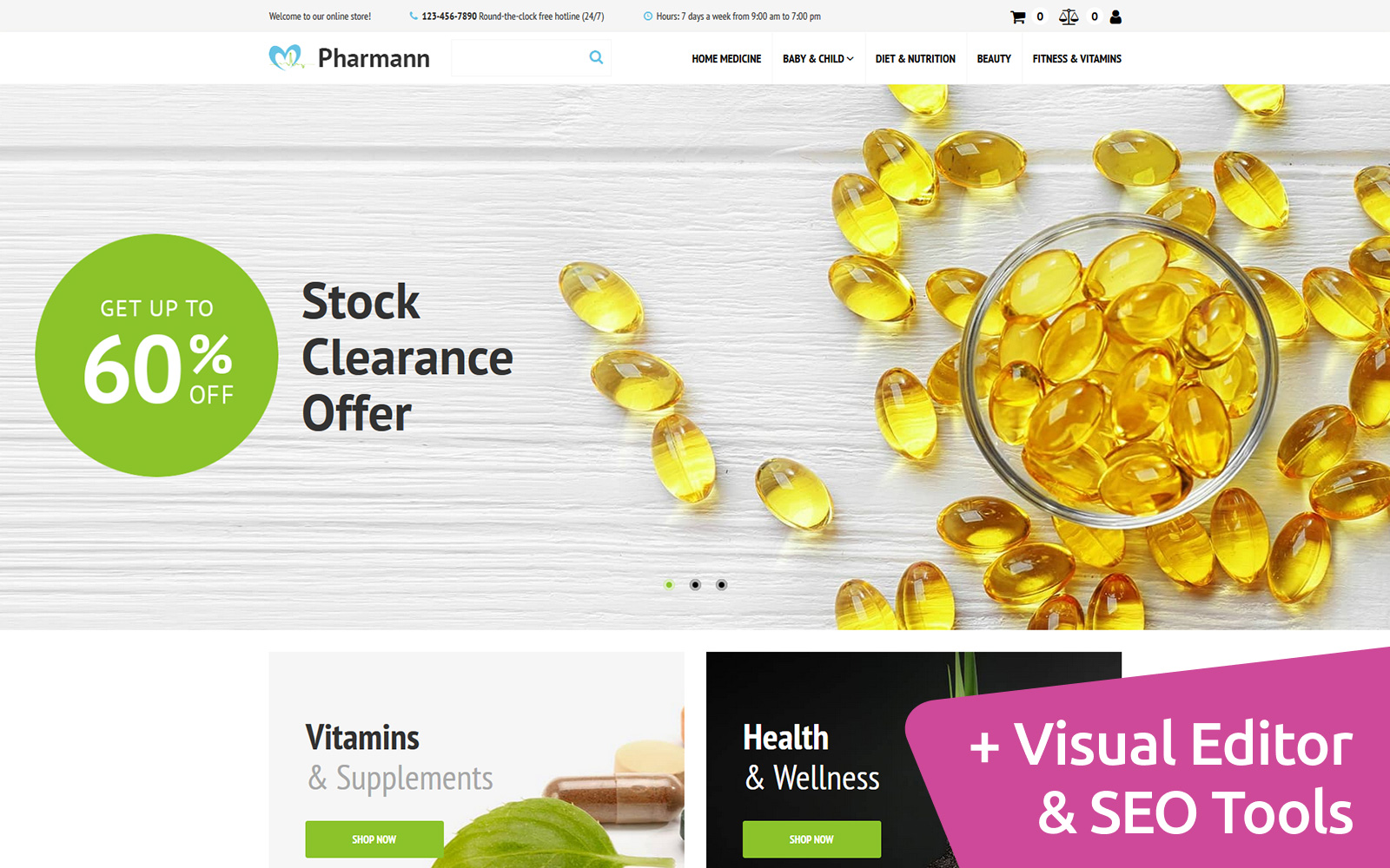 Pharmann - Drug Store MotoCMS Ecommerce Template