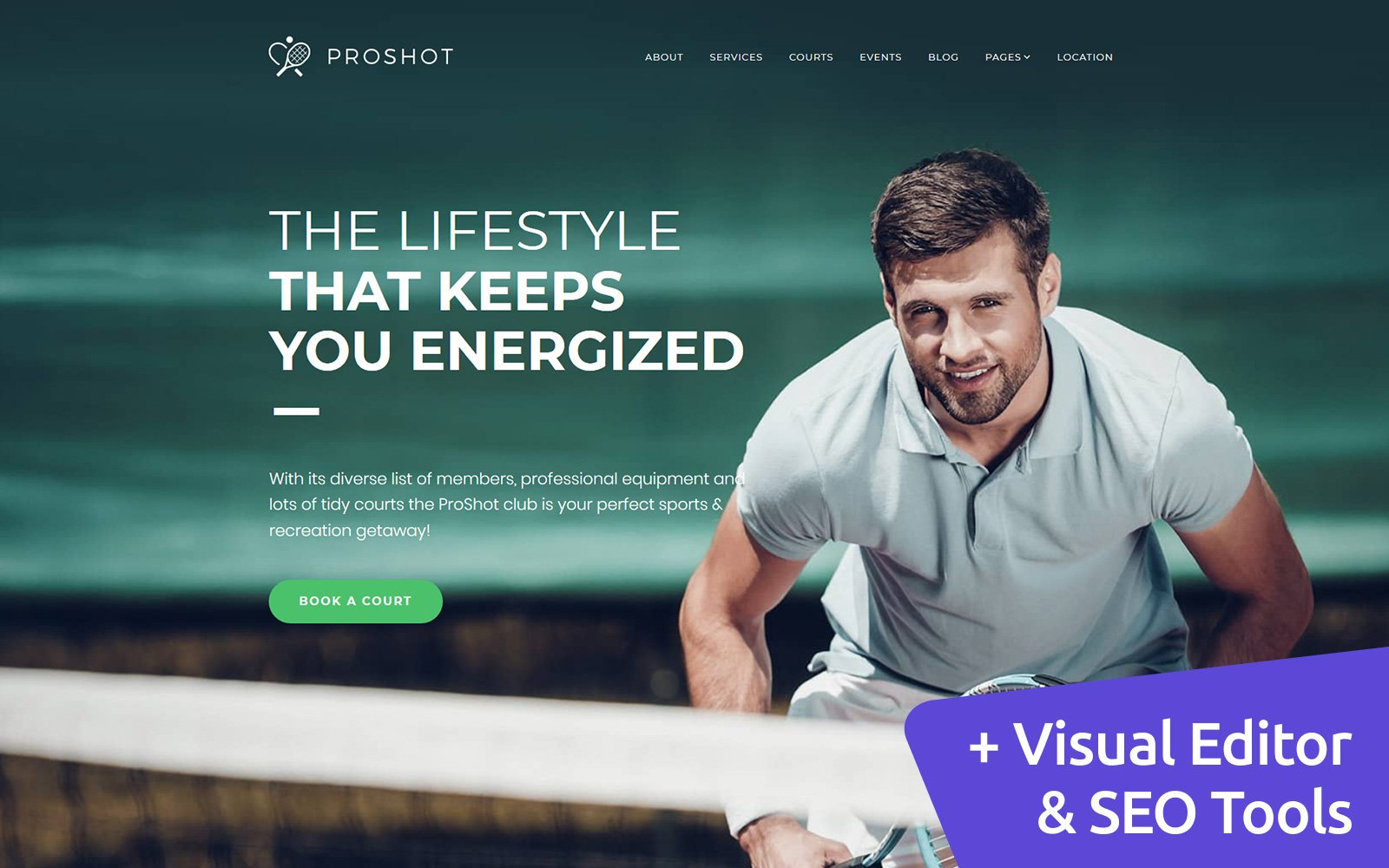 ProShot - Tennis Club Templates Moto CMS 3 №110437