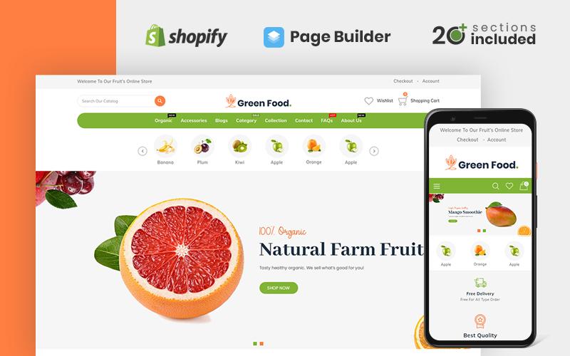 Responsywny szablon Shopify Greenfood Organic Store #110429
