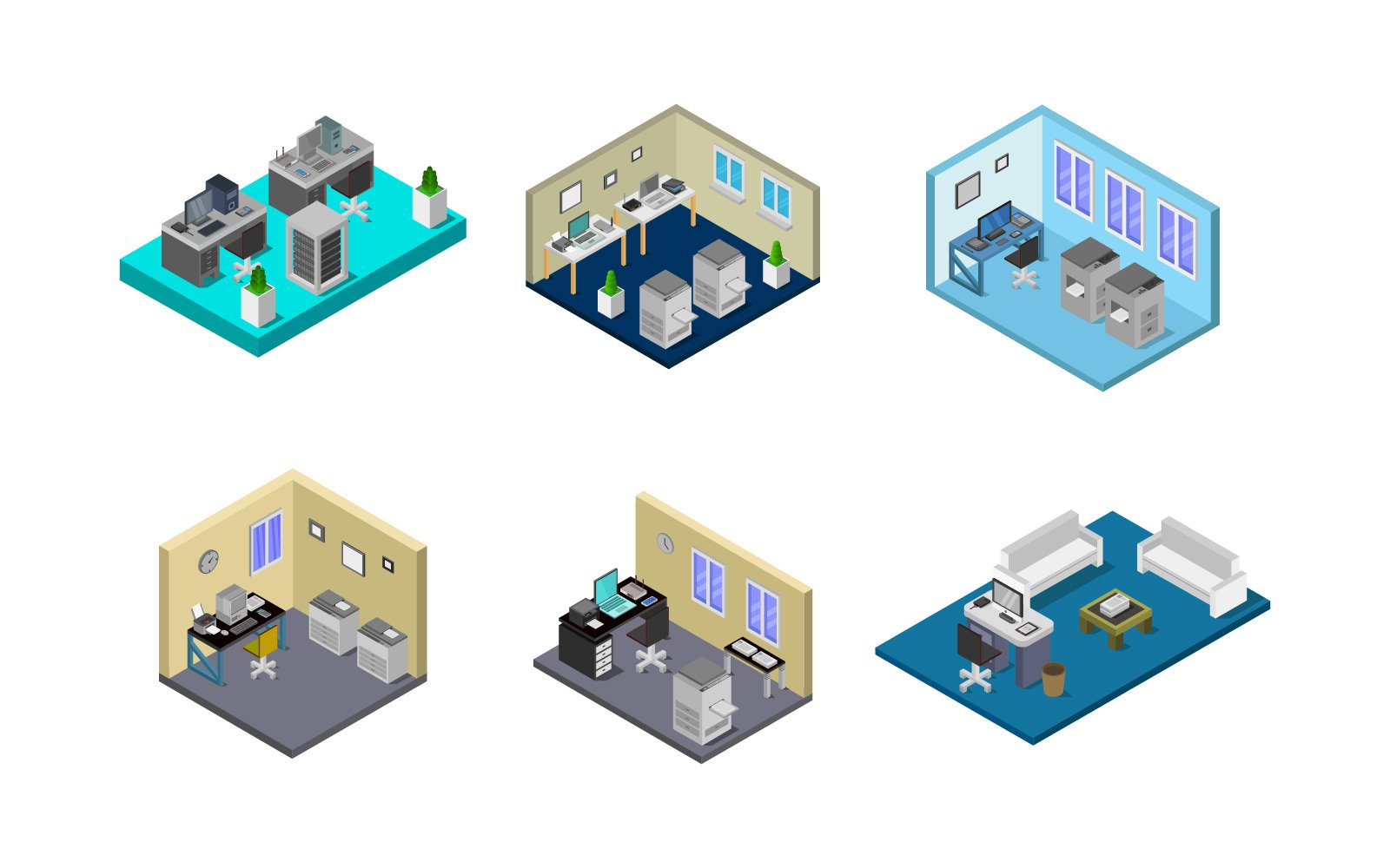 Set Of Isometric Office Room On Background Vector
