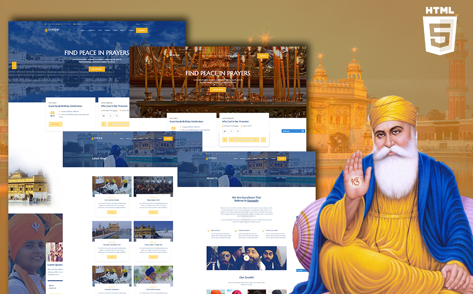 "Template Siti Web Responsive #110434 ""Singh - Sikh HTML"""