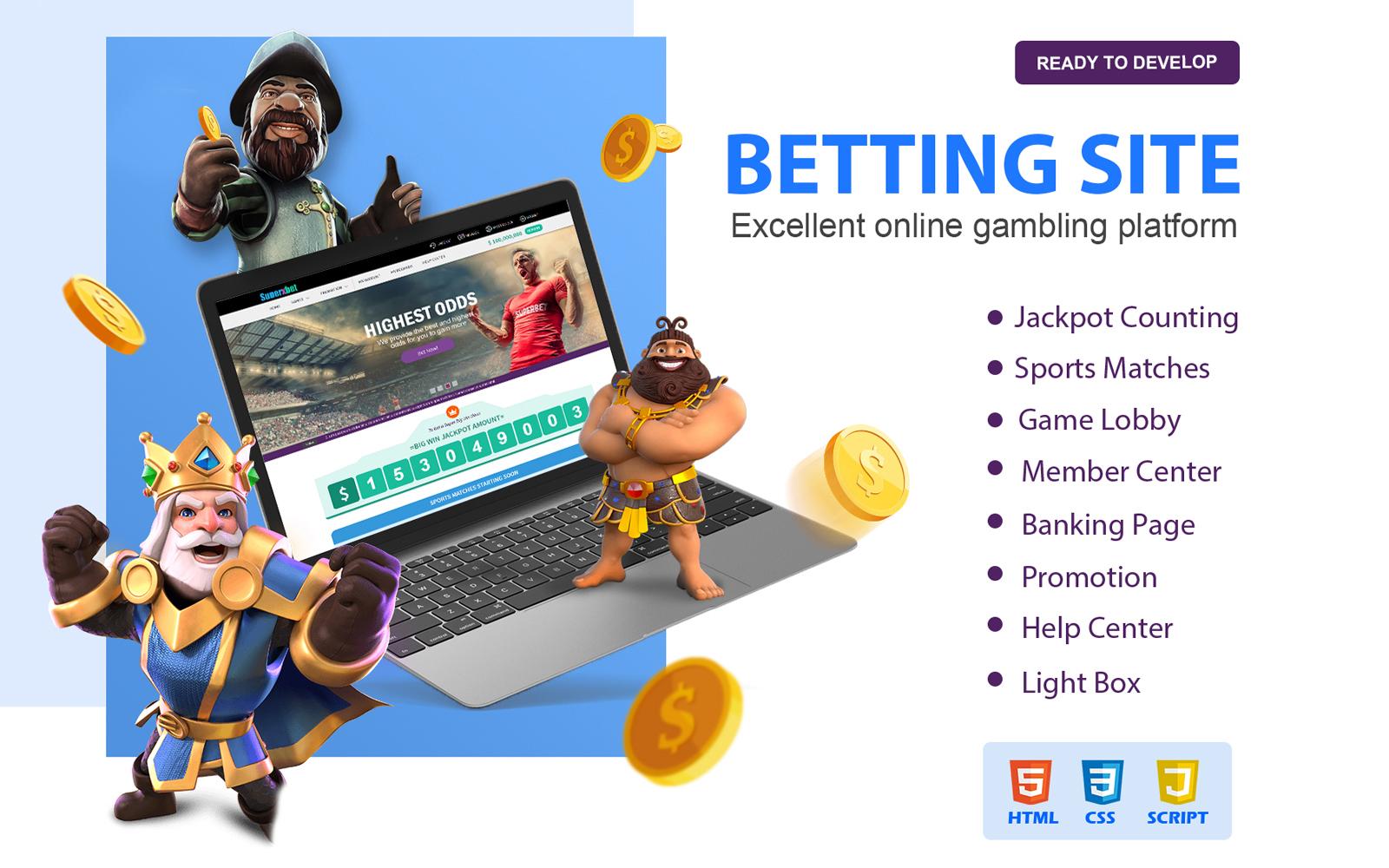 """Trendy Gambling and Betting Website Template"" 网页模板 #110431"