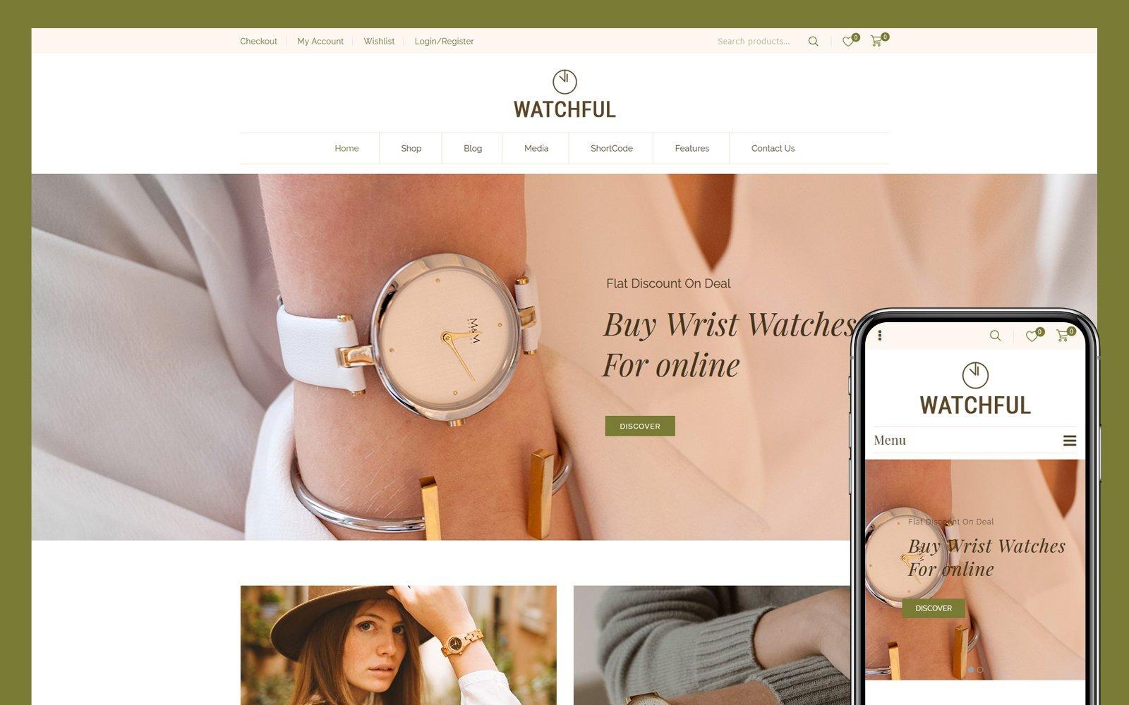 """Watchful - Multipurpose"" 响应式WooCommerce模板 #110425"
