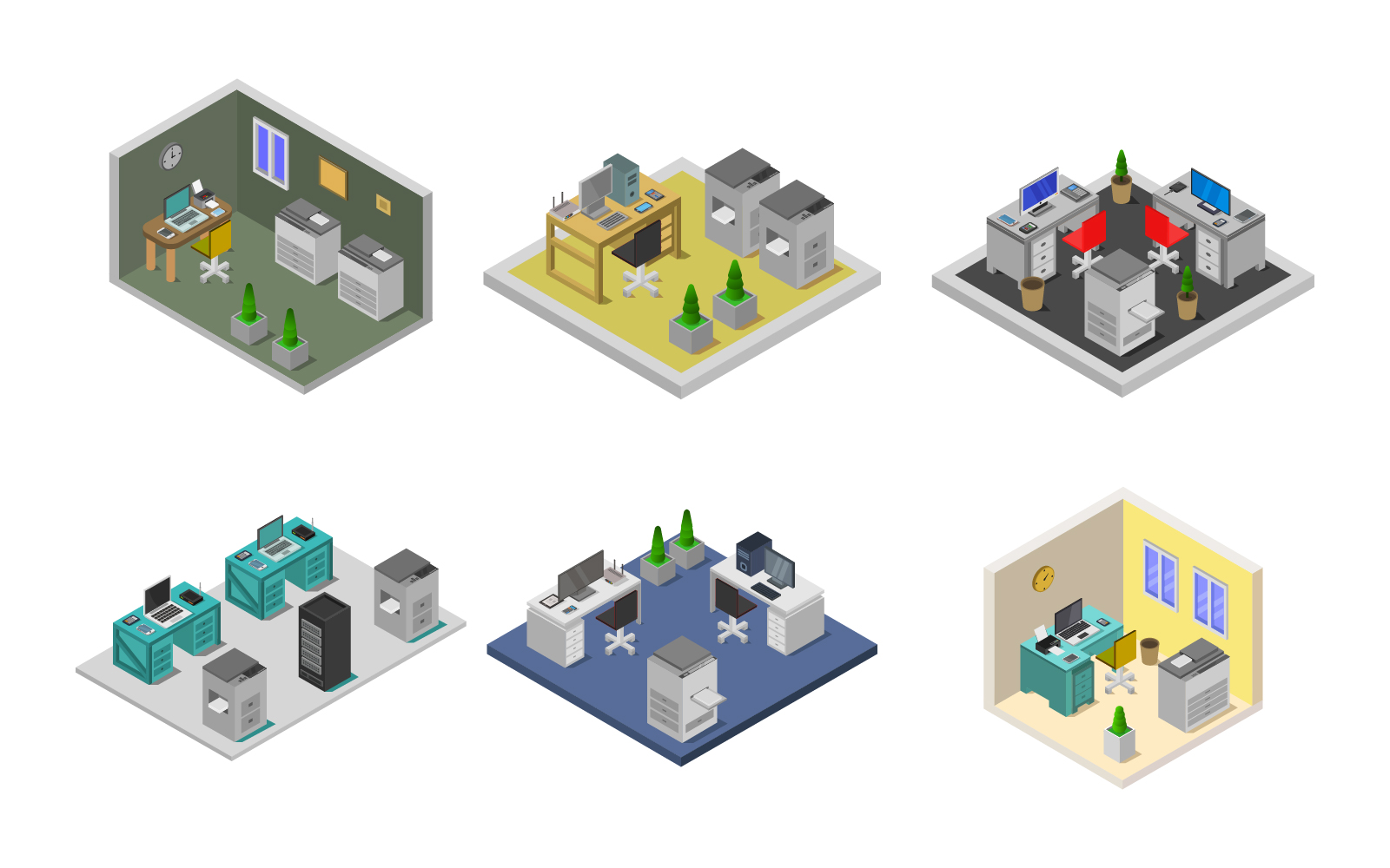 Isometric Office Room On A White Background Vector