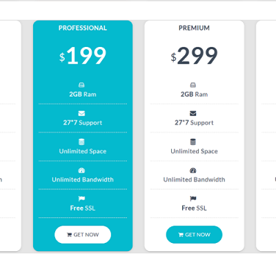 Pricing Table Specialty Page #110516