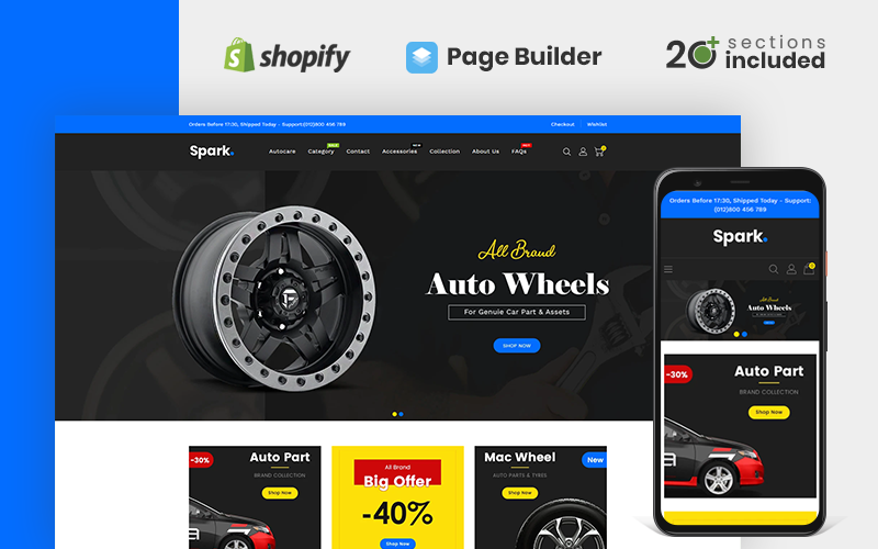 Responsywny szablon Shopify Spark Auto Parts Store #110520