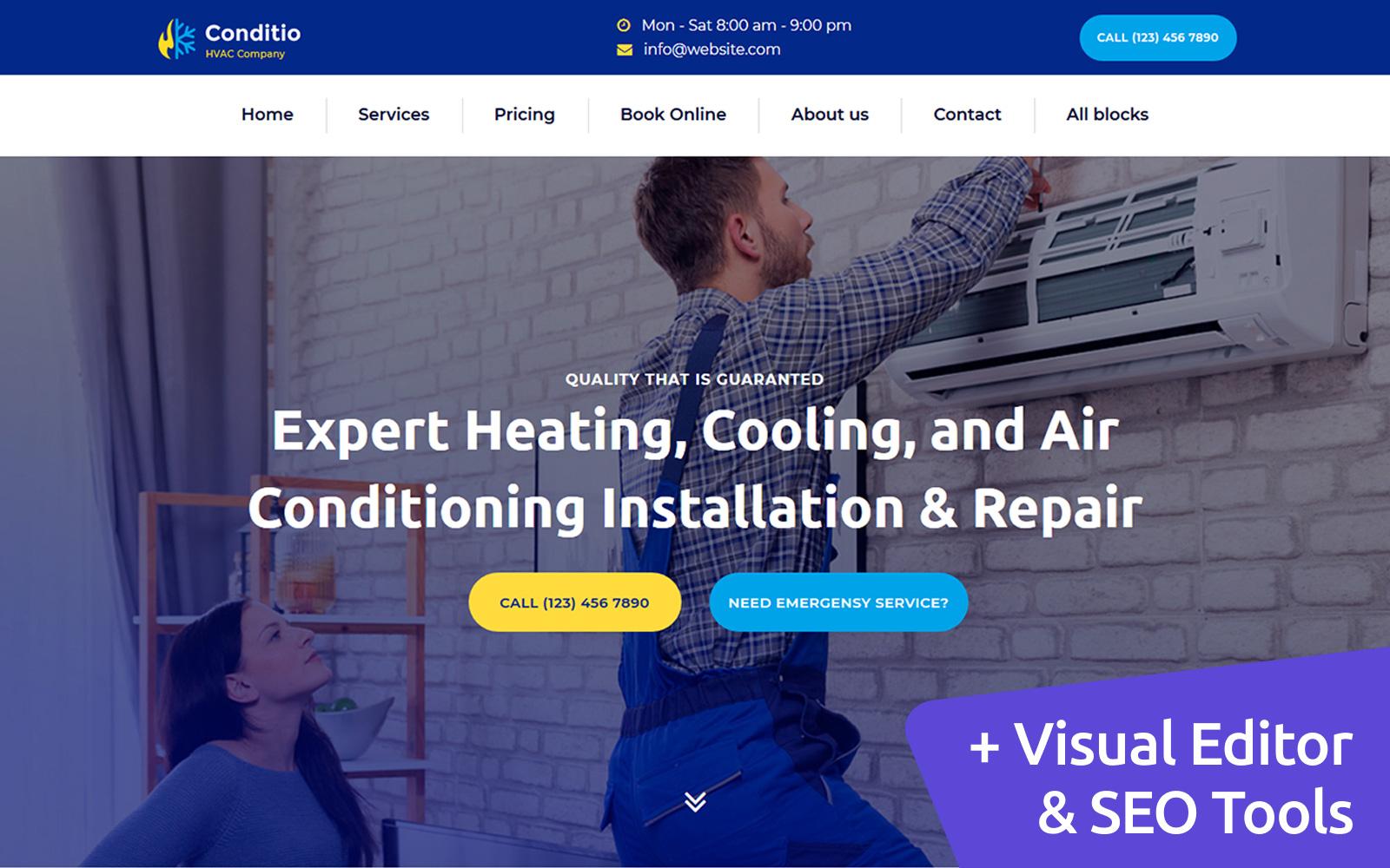 """Responzivní Šablona mikrostránek """"Conditio - HVAC Company MotoCMS"""" #110523"""