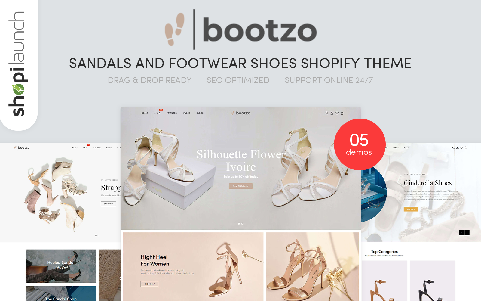 "Shopify Theme namens ""Bootzo - Sandals And Footwear Shoes Responsive"" #110518"