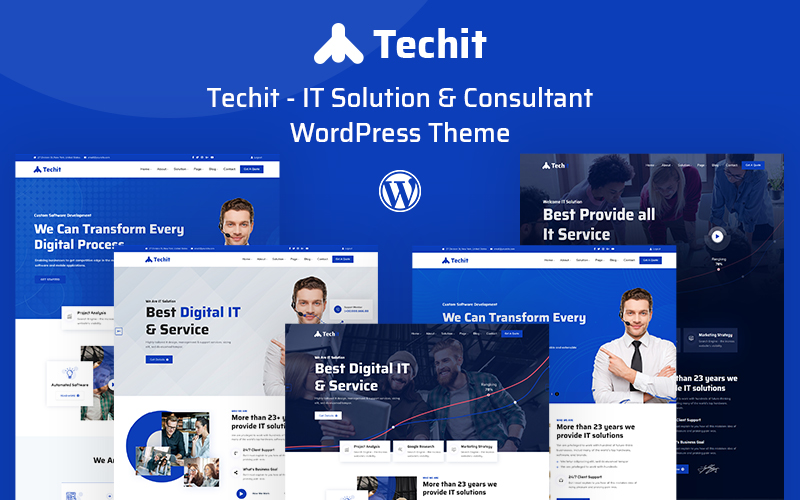 """Techit - IT Solution & Consultant"" - адаптивний WordPress шаблон №110513"
