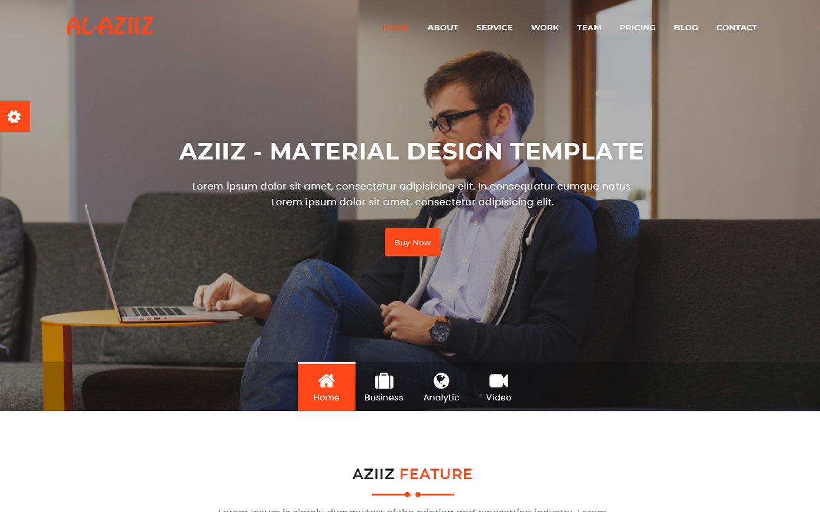 """Al-Aziiz - Material Design Agency"" 响应式着陆页模板 #110680"