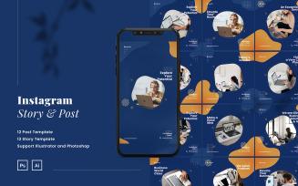 Elegant Company Puzzle Instagram Post & Story Social Media Template