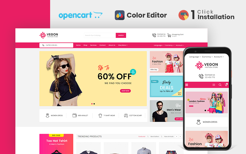 "Modello OpenCart Responsive #110678 ""Trendy Fashion Store"""