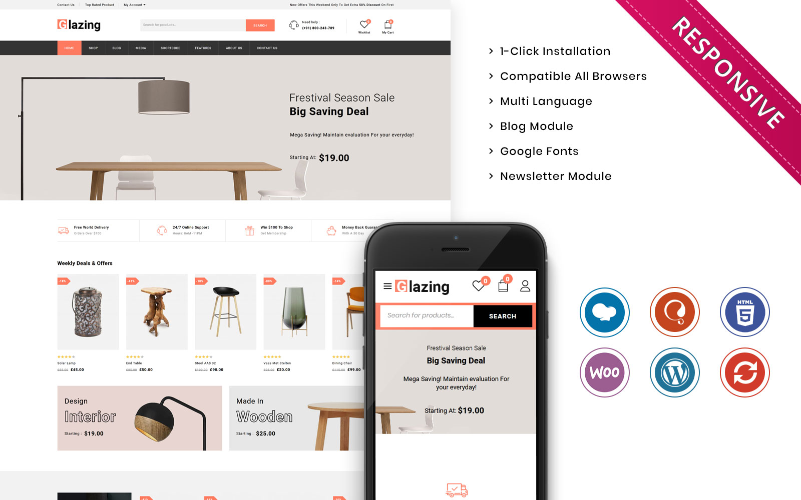 Responsywny motyw WooCommerce Glazing - The Furniture Store Responsive #110672