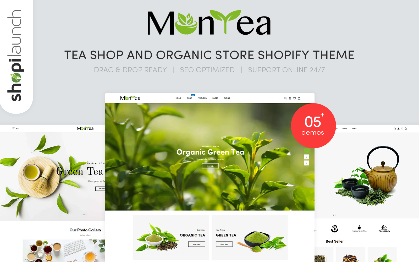 "Tema Shopify Responsive #110679 ""Montea - Tea Shop And Organic Store Responsive"""