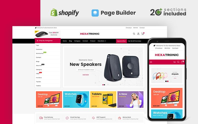 "Template Shopify Responsive #110674 ""Hexatronic Electronics Store"""