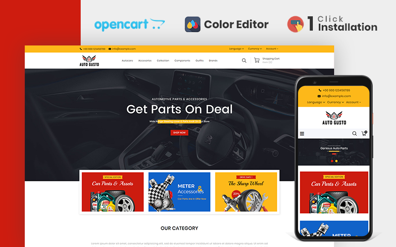Autogusto Parts Store OpenCart Template
