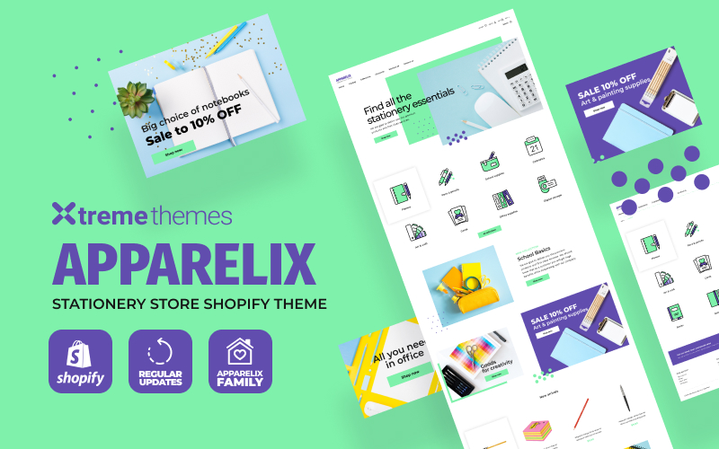 """Apparelix - Stationery Clean"" Responsive Shopify Thema №110717"