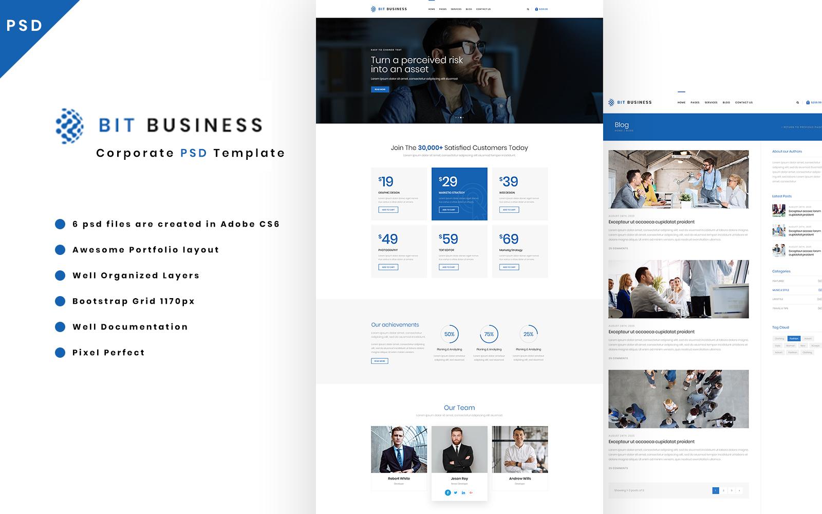 Bit Business - Corporate PSD Template