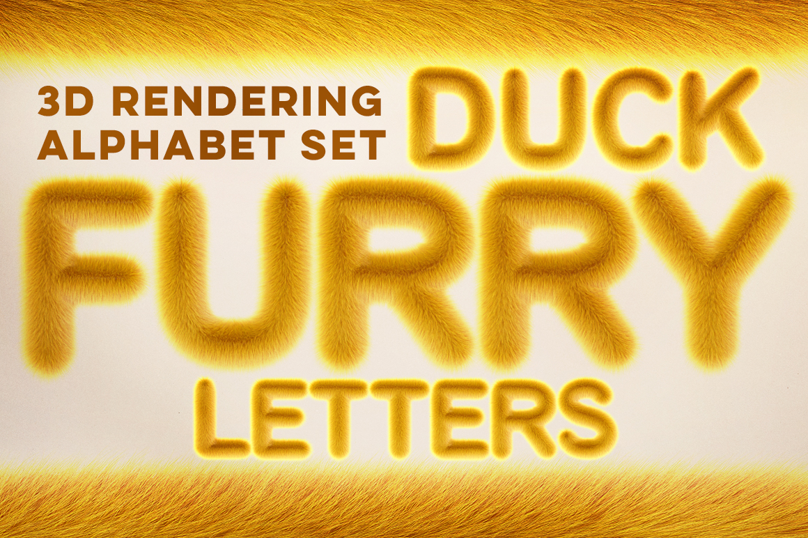 3D Duck Furry Letters Pack Illustration