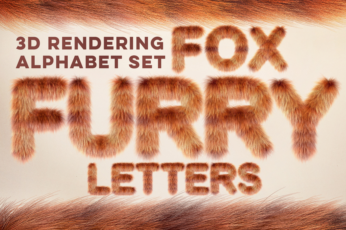 3D Fox Furry Letters Pack Illustration