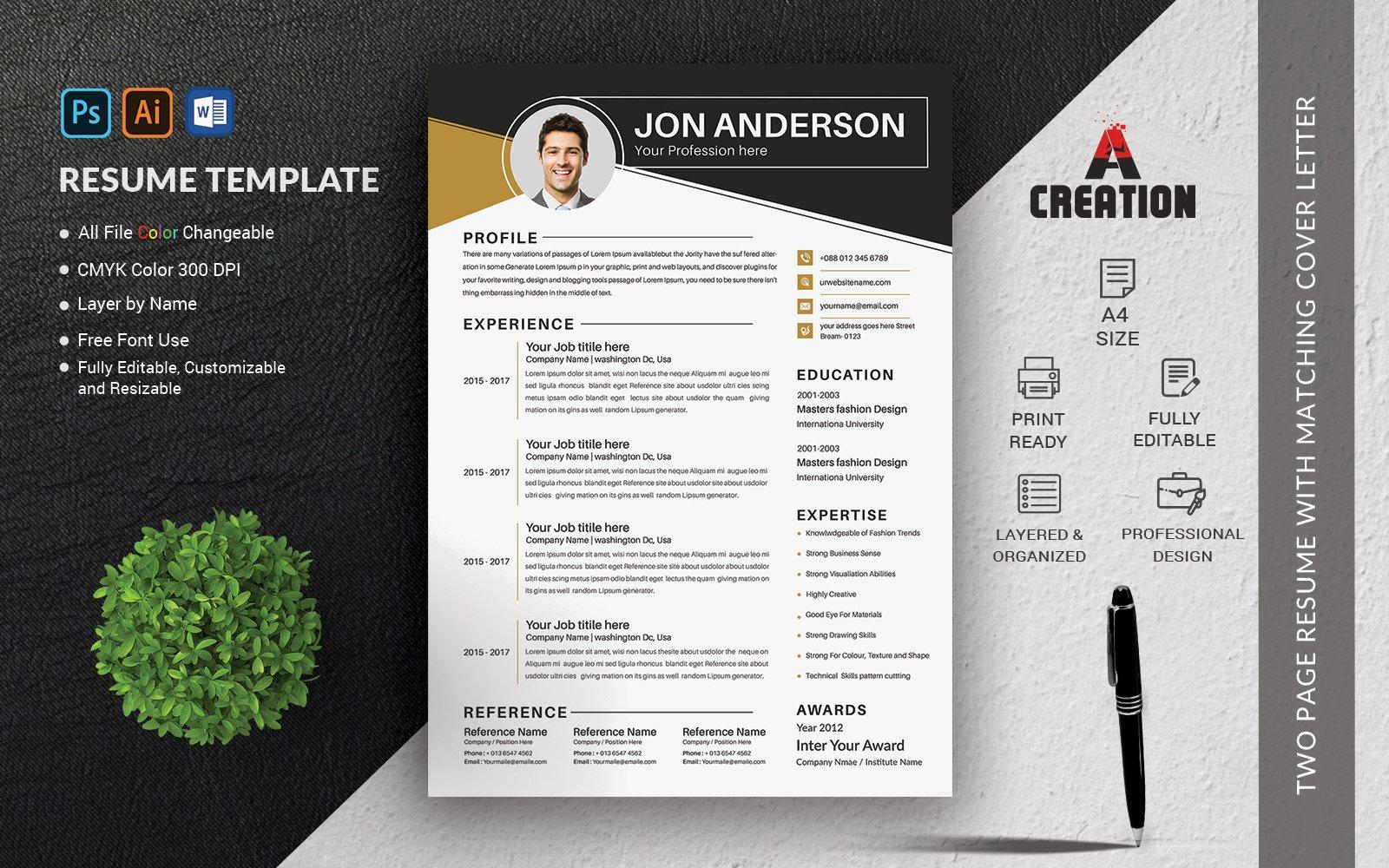 Jon Anderson Fully Editable Resume Template