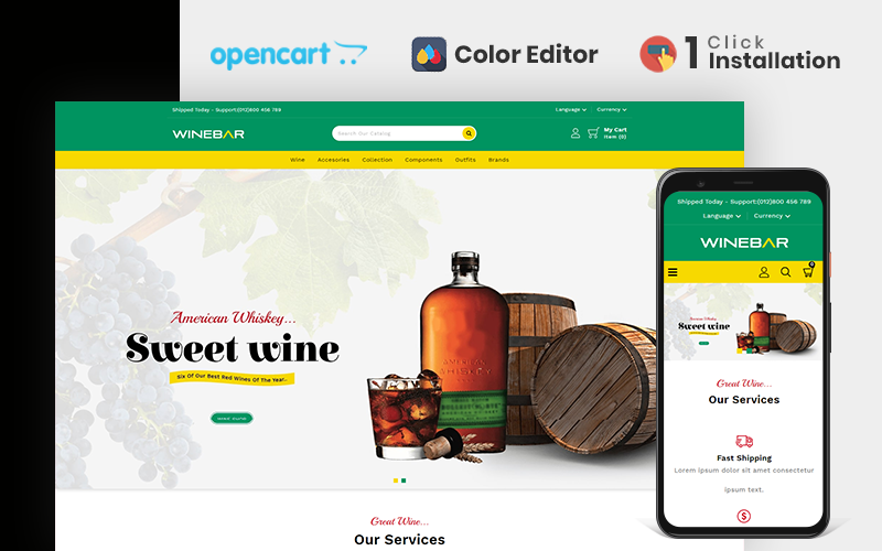 """Winebar Wine & Beverages Store"" Responsive OpenCart Template №110764"