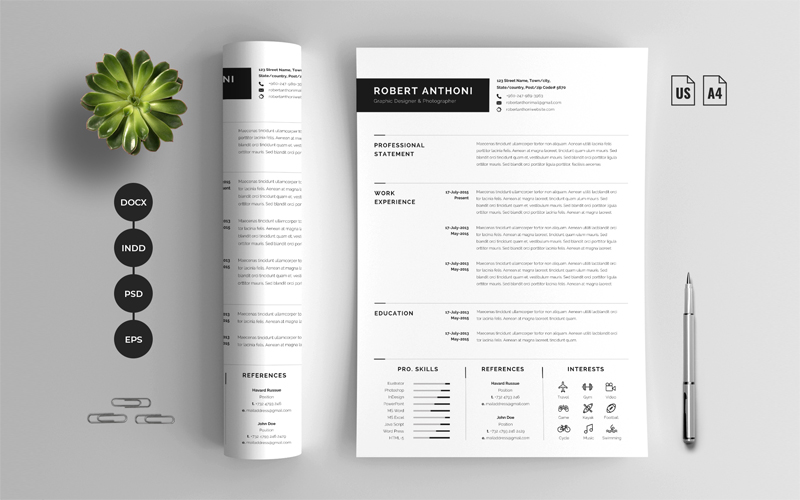 Word & Cover Letter Resume Template
