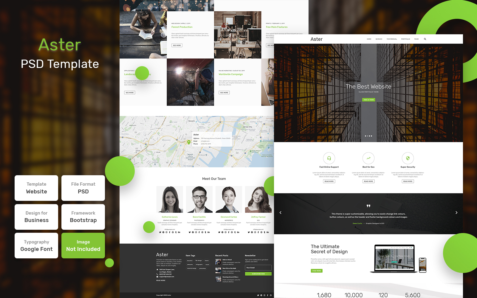"""""""Aster - Business Material"""" Bootstrap PSD Template №110881"""