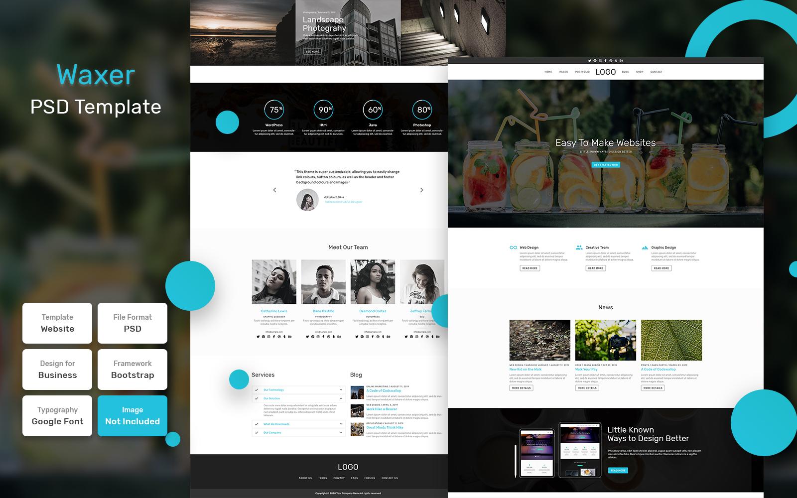 Bootstrap Waxer - Blog Material PSD sablon 110883
